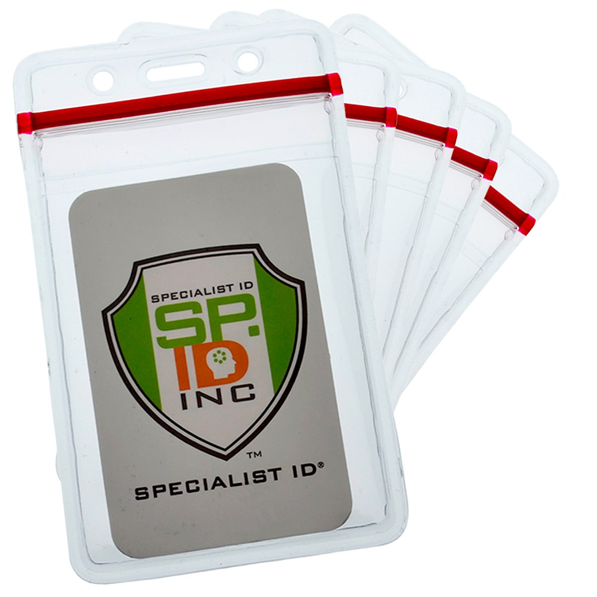 Bulk 100 Pack - Heavy Duty Vertical Resealable Vinyl Badge Holders for Employee Or Student ID - Clear Water Resistant Plastic with Red Ziplock Seal Holds Multiple Cards by Specialist ID