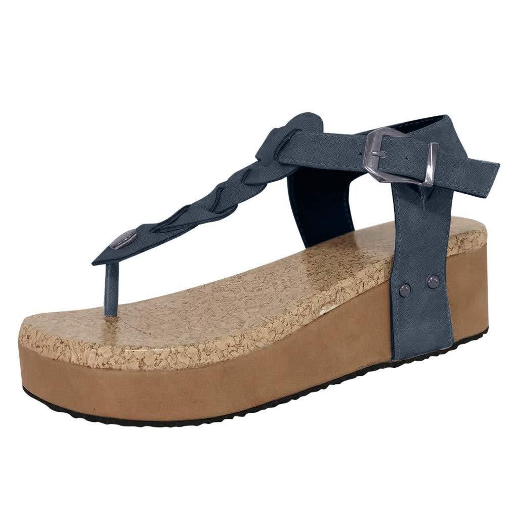 Sandals for Women THENLIAN Fashion Casual Flip Flops Buckle Strap Wedges Sandals Toe Platform Shoes(43, Gray)
