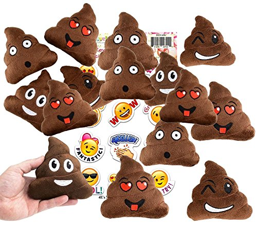 (Emoji Poop Pillow Party Favors for 12 - 12 Small Emoji Pillows (5 inch) + 1 Pack of 12 Emoji Stickers Great for Prizes, Decorations)