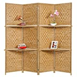 MyGift Wooden 4 Panel Paper Rope Woven Screen Divider / Partition Wall w/ 6 Display Shelves, Beige