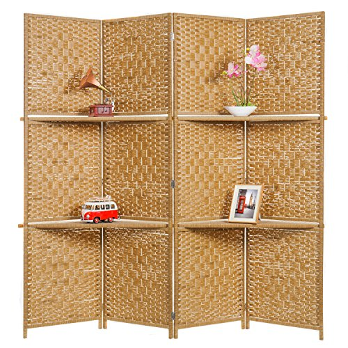 MyGift Wooden 4 Panel Paper Rope Woven Screen Divider/Partition Wall w/ 6 Display Shelves, Beige