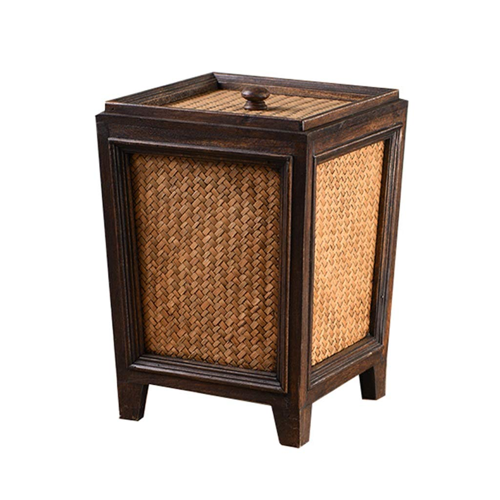 CSQ Wooden Multi-Purpose Trash Can, Hotel Living Room Household Rattan Trash Can Flower Arranging Barrel 232333CM Indoor