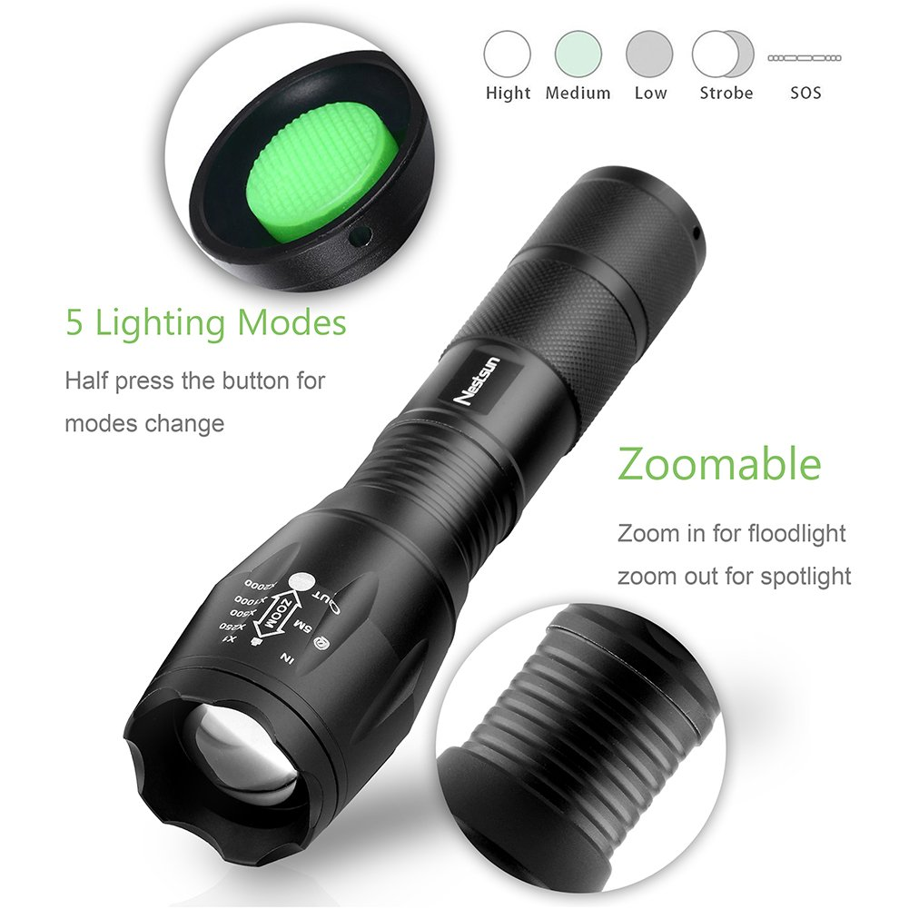 URPOWER Tactical Flashlight Super Bright CREE LED Flashlight Zoomable Tactical Flashlight Rainproof Lighting Lamp Torch -with Rechargeable 18650 2800mAh Battery -For Cycling Hiking Camping Emergency by URPOWER (Image #4)