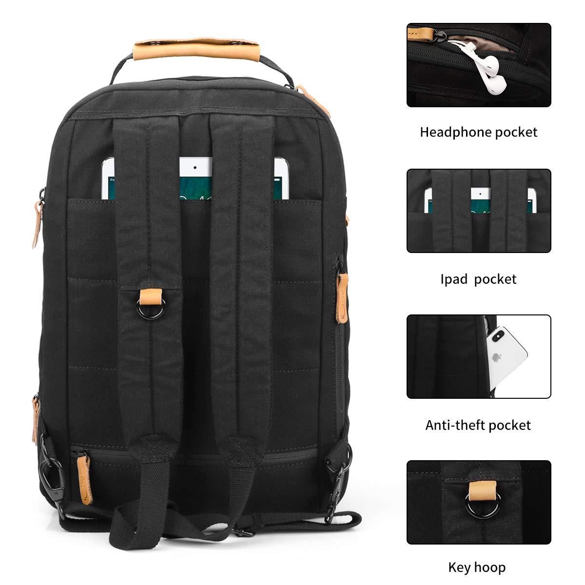 Keenston Laptop Rucksack 15,6 Zoll Baumwoll Schulrucksack Wasserabweisenden Multifunktionsrucksack Tagesrucksack für Business Schule Reisen Schwarz