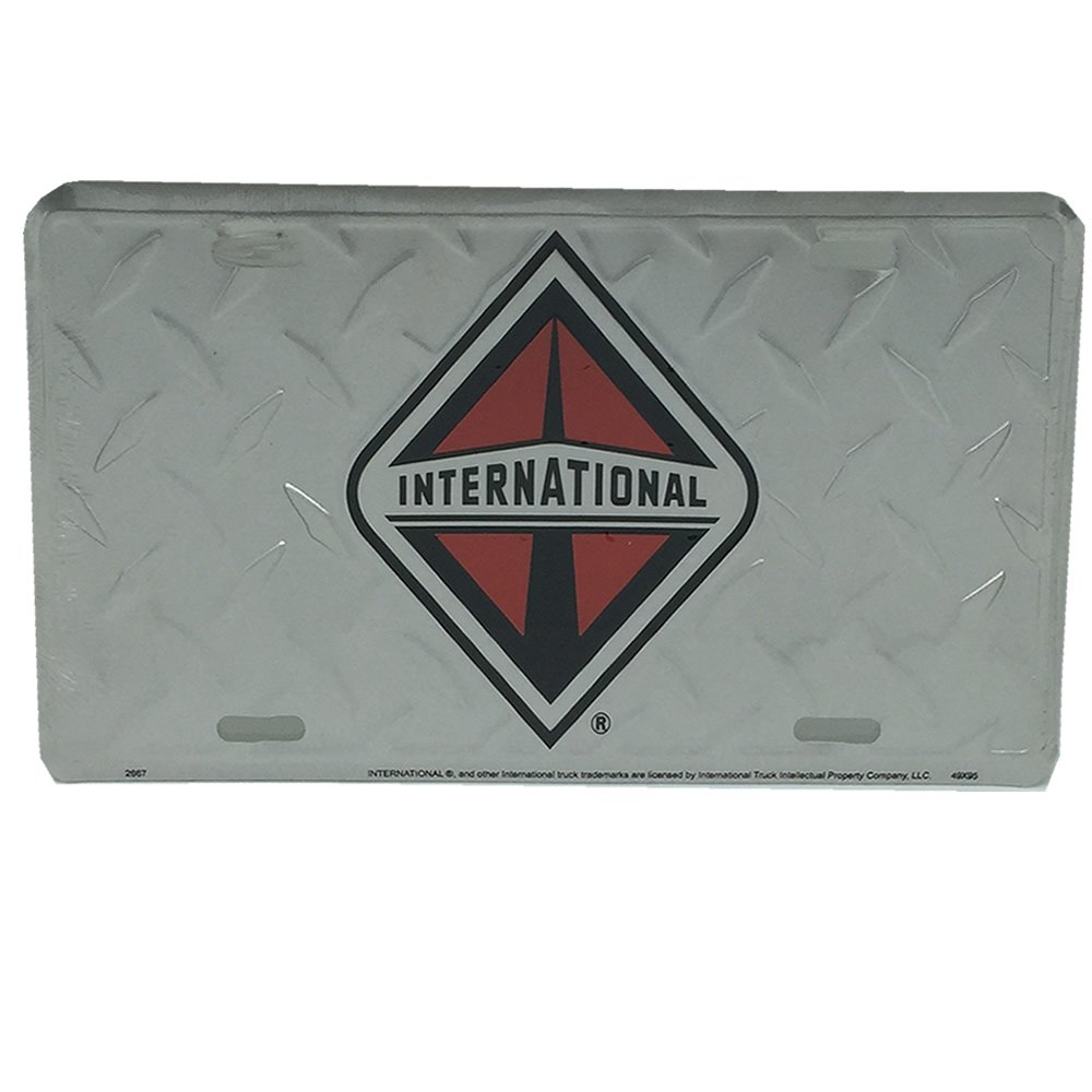 Diamond Plate International Trucks License Plate