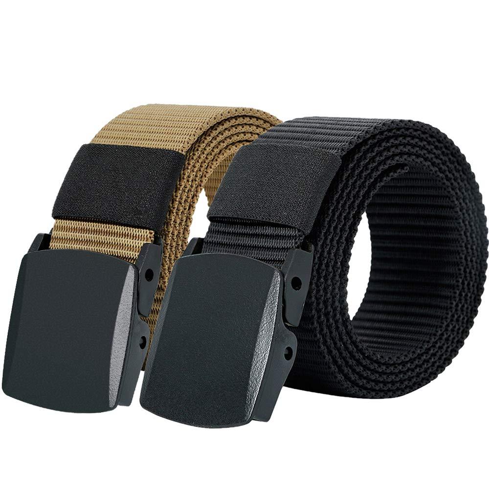 Hoanan 2 Pack Military Tactical Belt, Plus Size No Metal Webbing Nylon Web Belt 1.25 Belt (black+brown)