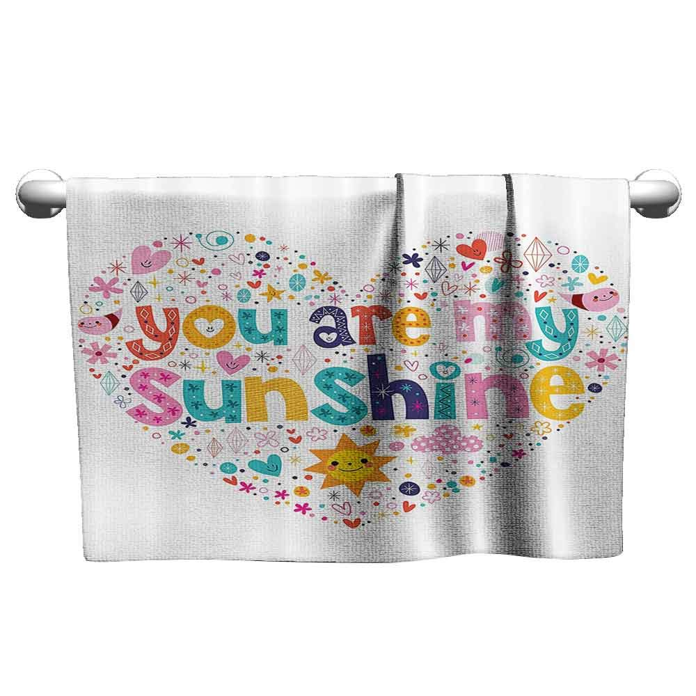 DUCKIL Absorbent Towel Quotes Decor Heart Shaped Sunshine Motivational Quote with Stars Circle Sun Cloud Infant Decor Bathroom Towel 63 x 31 inch Multi