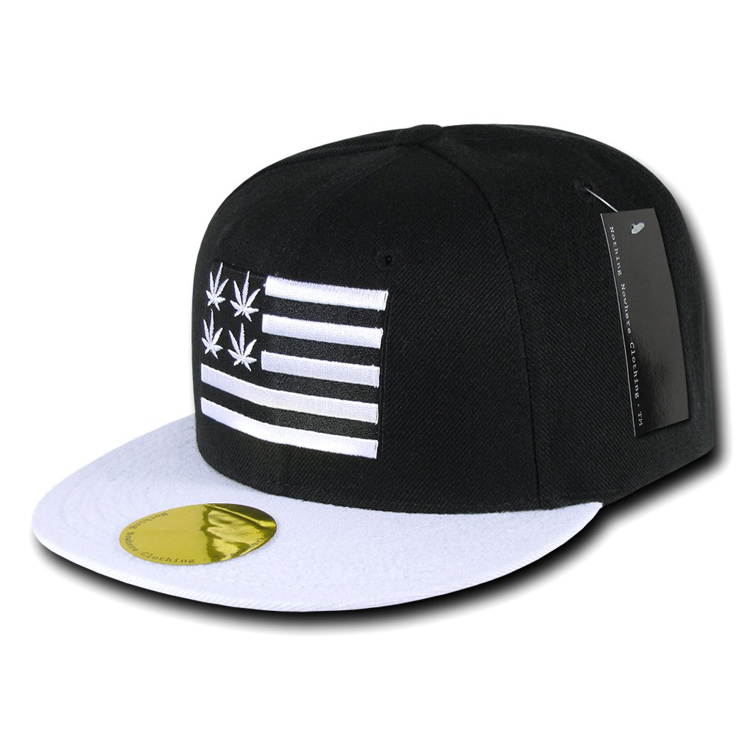 Nothing Nowhere Weed 2 Flat Bill Snapback, Black/White