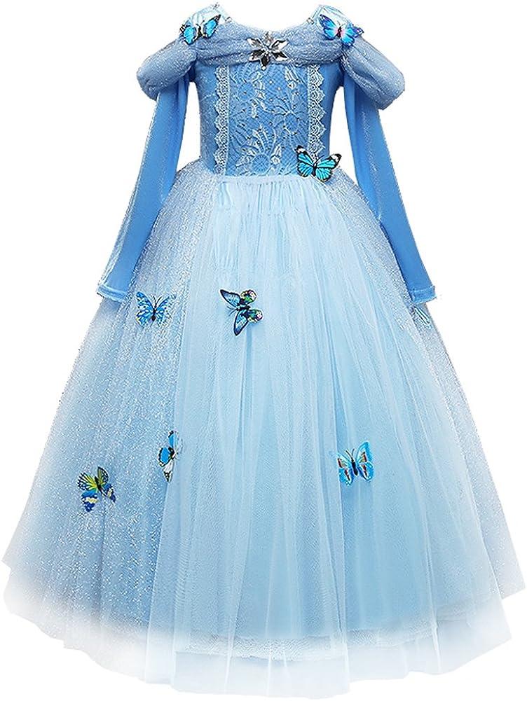 FYMNSI Disfraz Cenicienta Niña Cinderella Dress Carnaval Disfraces Traje de Princesa Azul con Mariposas Vestido Largo para Navidad Halloween Cosplay Fiesta Cumpleaños Chicas 3-9 Años