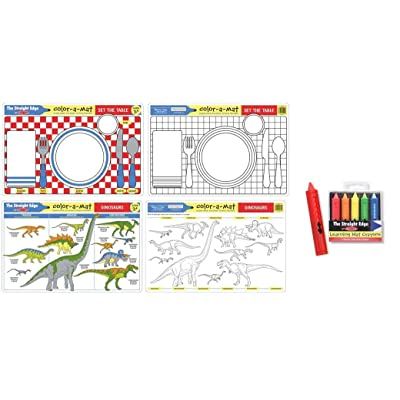 Set the Table and Dinosaurs Learning Mats (Color Mat) for age 3+ with bonus Learning Mat Crayons: Toys & Games