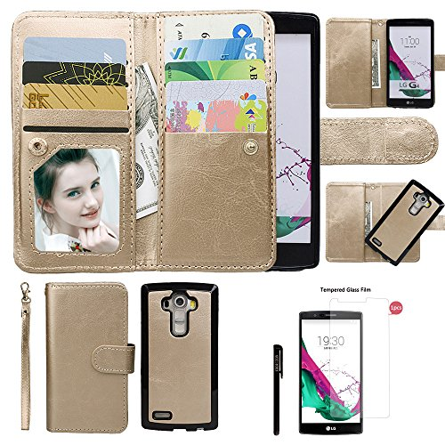 Case for LG G4, xhorizon TM SR [Upgraded] Premium Leather Wallet [Magnetic Detachable][Magnetic Car Mount Phone Holder Compatible] Folio Cover for LG G4 with 9H Tempered Glass Film from xhorizon