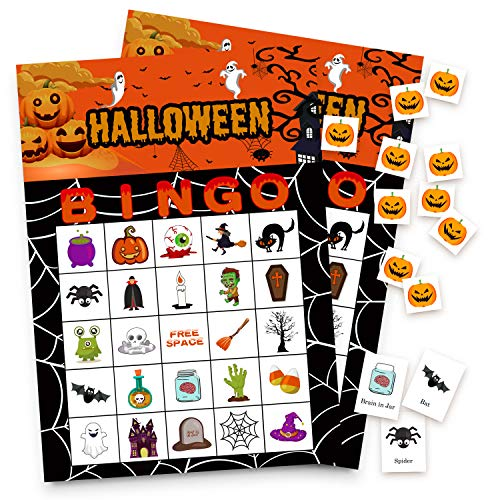Halloween Games Bingo Cards for Kids Class Party Supplies Activity 24players -