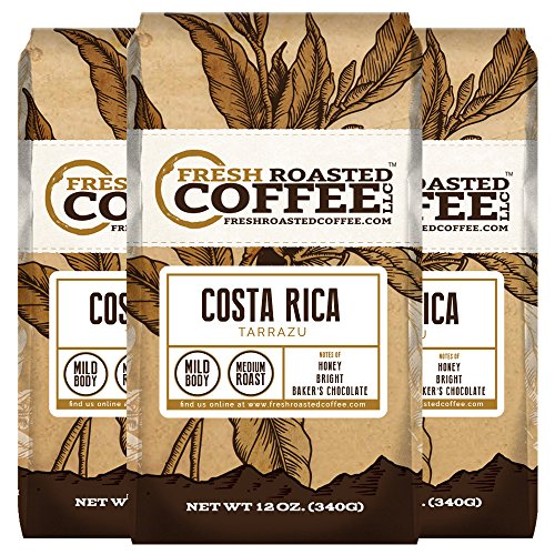 Costa Rica Tarrazu Coffee, 12 oz. Whole Bean Bags, Fresh Roasted Coffee LLC. (3 Pack)