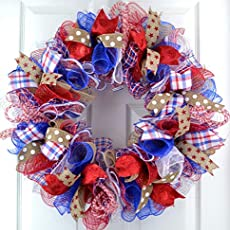 39971e0b1 Fourth of July Independence Day Mesh Door Wreath  red white blue jute  burlap.