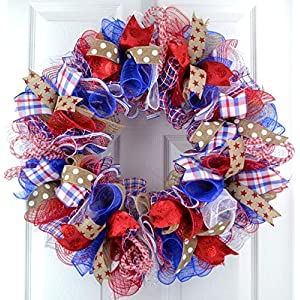 Fourth of July Independence Day Mesh Door Wreath; red white blue jute burlap | J1 2