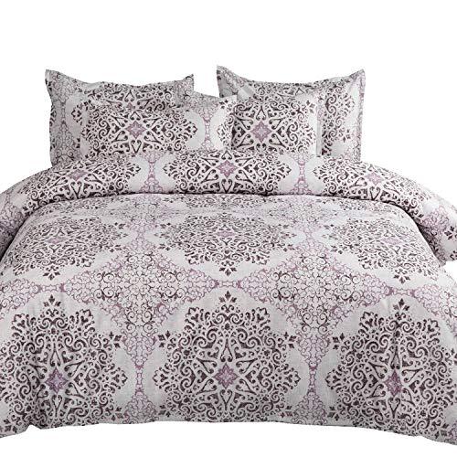 MIMONG Duvet Cover Set with Zipper Closure,Purple&Light Grey Damask Pattern Floral Print Design,Soft Microfiber Bedding,King Size(104