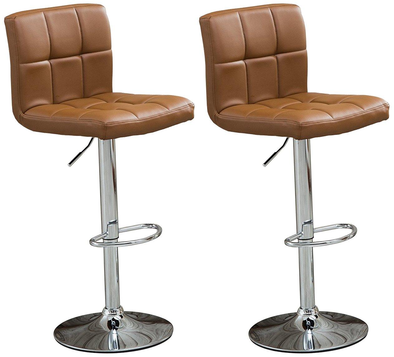 Roundhill Furniture Swivel Leather Bar Stools