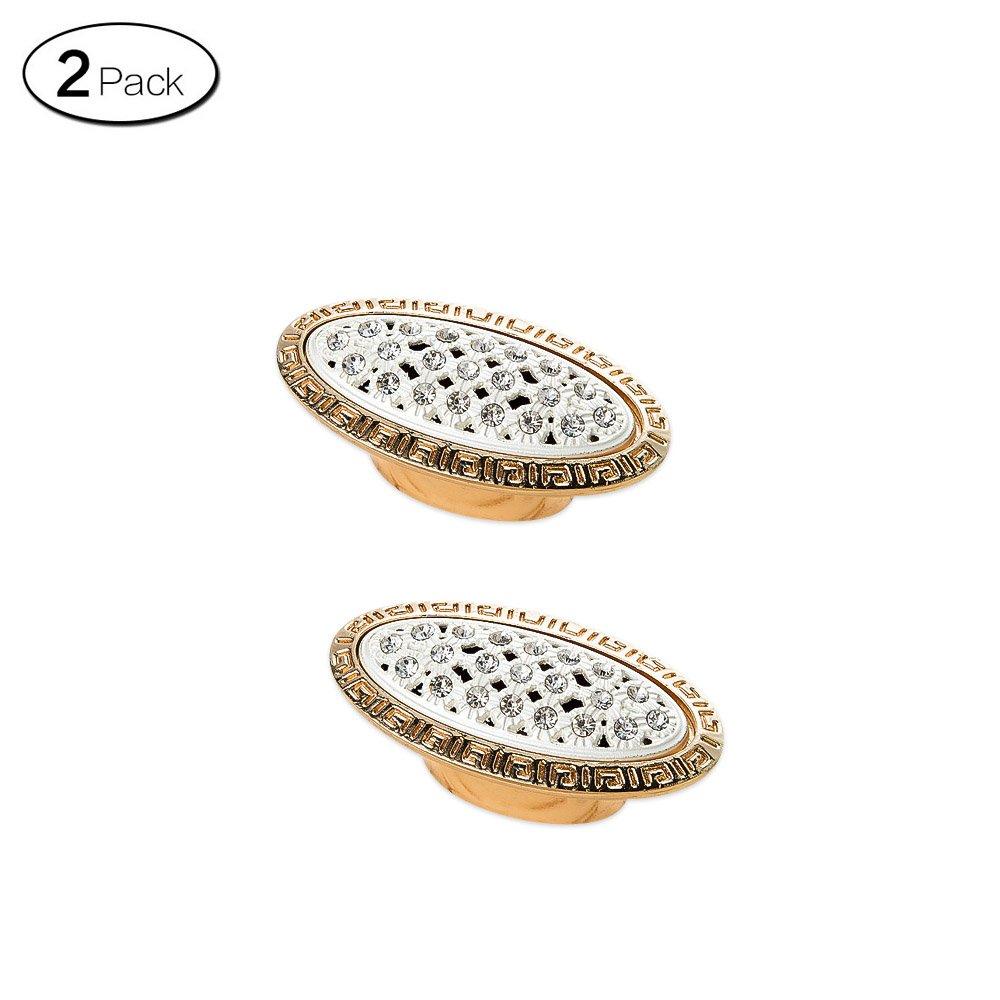 Zhi Jin 2Pcs Luxury Diamond Cabinet Handles Wardrobe Shoe Drawer Handle Room Decoration Gold Single Hole-730