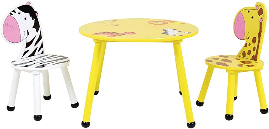 Childrens Safari Wooden Round Table and 2 Stools Set