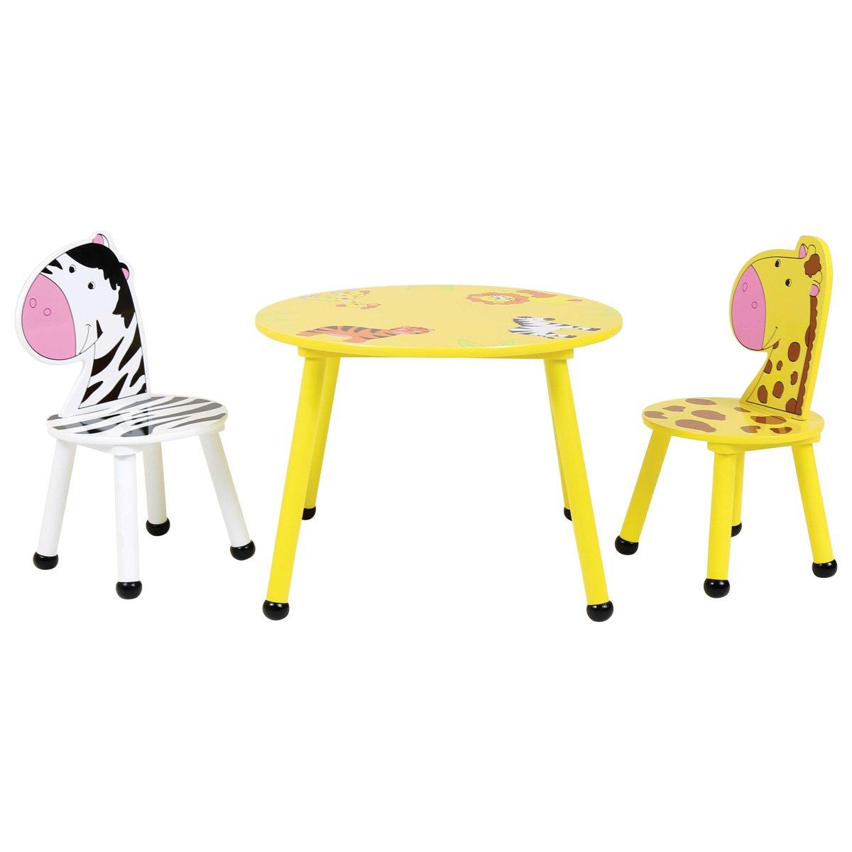 Charles Bentley Kids Jungle Safari Wooden Table & 2 Chairs Set Children'S Bedroom Playroom Nursery Furniture