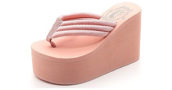 e4100046a247 Hanxue Womens Chunky High Platform Wedge Flip-Flops Sandals Pink US4.5