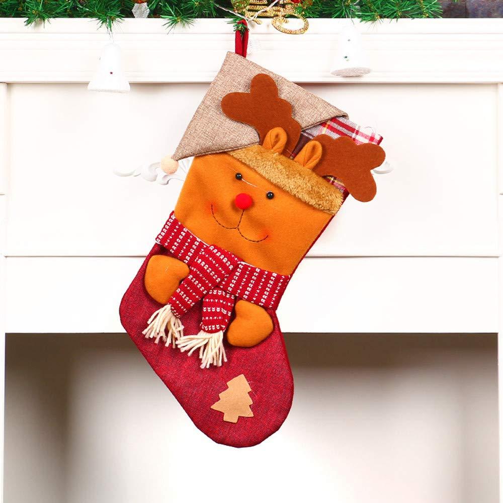Large Christmas Socks Christmas Tree Pendant Gift Bag Winter Jewelry Desktop Christmas Party Decoration DIY Crafts (Brown)