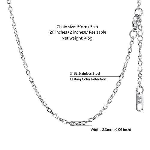a19dd1661bd4b7 PROSTEEL Collier Chaîne Femme Maille Forçat Bijoux en Acier Inoxydable 316L  - 2,3mm de Large - 55cm de Long Link Chain Ajustable (Argenté)  Amazon.fr   ...