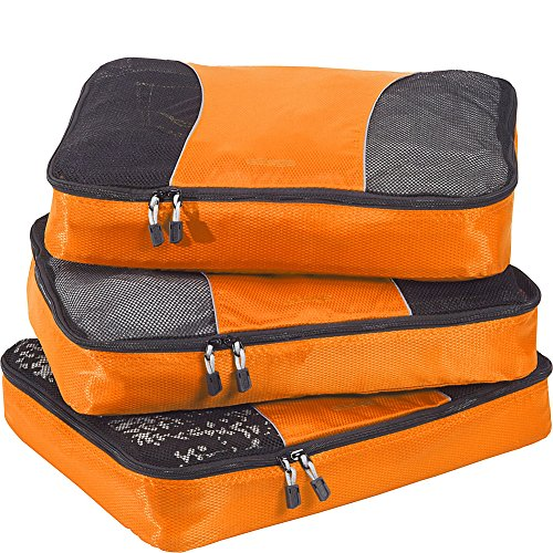 eBags Large Classic Packing Cubes for Travel - 3pc Set - (Tangerine)