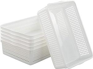 Callyne 6-Pack White Plastic Paper Storage Tray Basket Organizing Basket