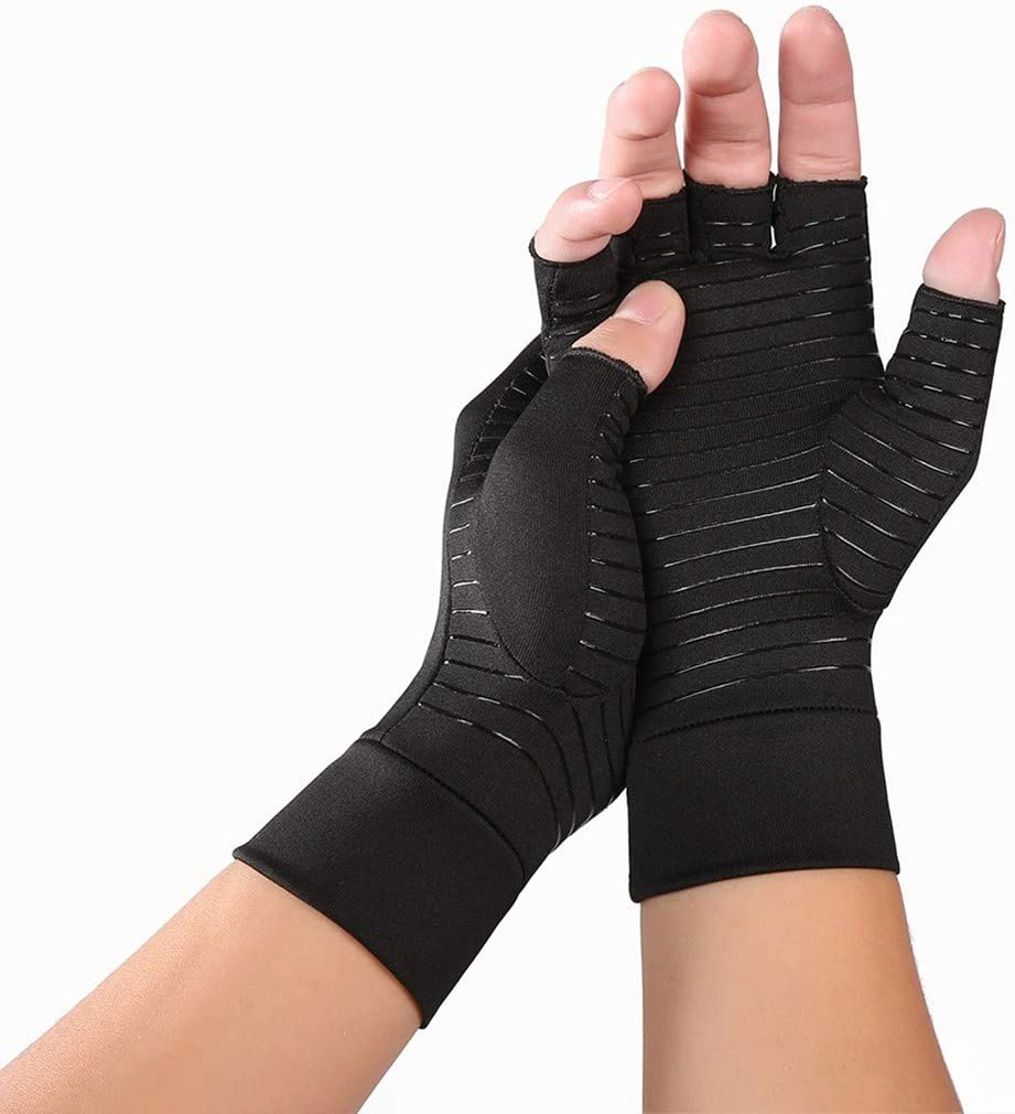 Computer Typing Pain Relief Fingerless Gloves Carpal Tunnel Large and Everyday Support for Hands FunDiscount Best Copper Infused Fit Glove for Women and Men Compression Arthritis Gloves