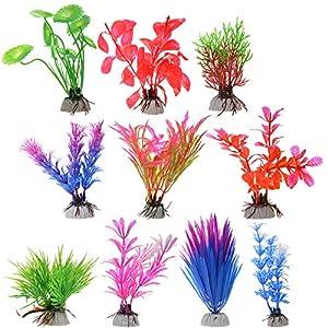 Cosmos 10 PCS Color Aquarium Fish Tank Decorative Plastic Plants, Artificial Water Plants, Random Colors 69