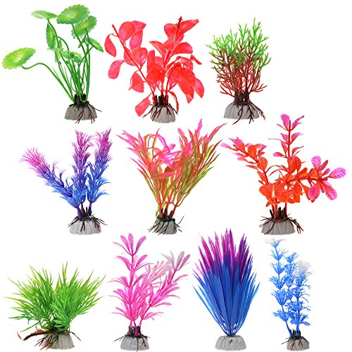 COSMOS 10 PCS Color Aquarium Fish Tank Decorative Plastic Plants , Artificial Water Plants, RANDOM colors (Plastic Aquarium Plant)