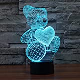 3D Teddy Bear Night Light Optical Illusion Table Lamps 7 Color Change Lights Home Decoration YKL WORLD Birthday Gift for Kids Girls Lover