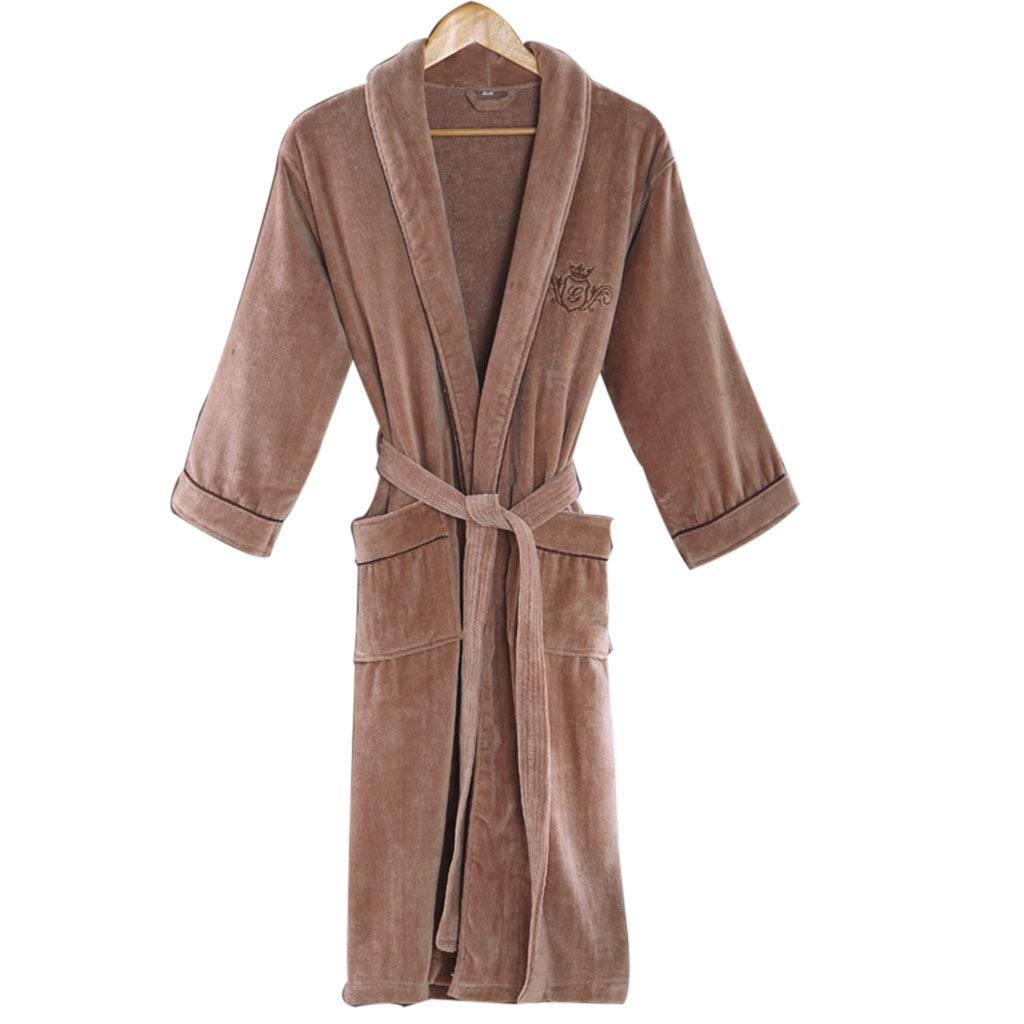 Brown Mesurn Women's Cotton Bathrobes, Healthy Towel Materials, Active Printing and Dyeing, No Thickening, Thick Autumn and Winter Bathrobes, Nightwear, Pajamas
