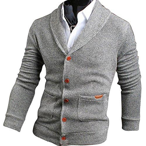 UPC 710185768045, Mens Casual V-neck Cardigan Sweater Light Grey XXL