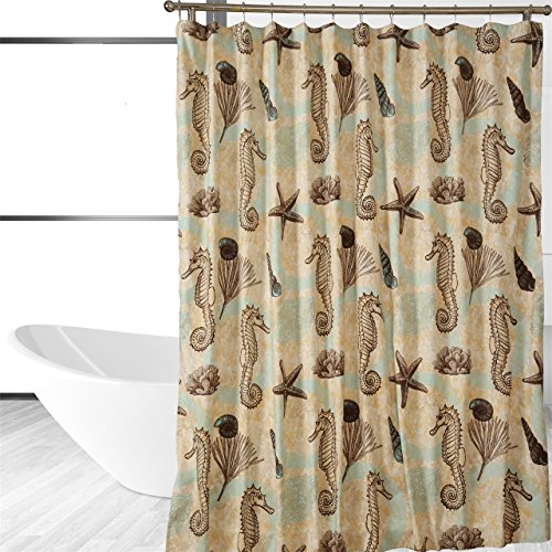 sea horse shower curtain nautical shower curtain