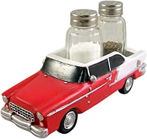 Old Classic Looking Car Salt and Pepper Shaker Holder 2 1/4 Inch (Shakers Included)