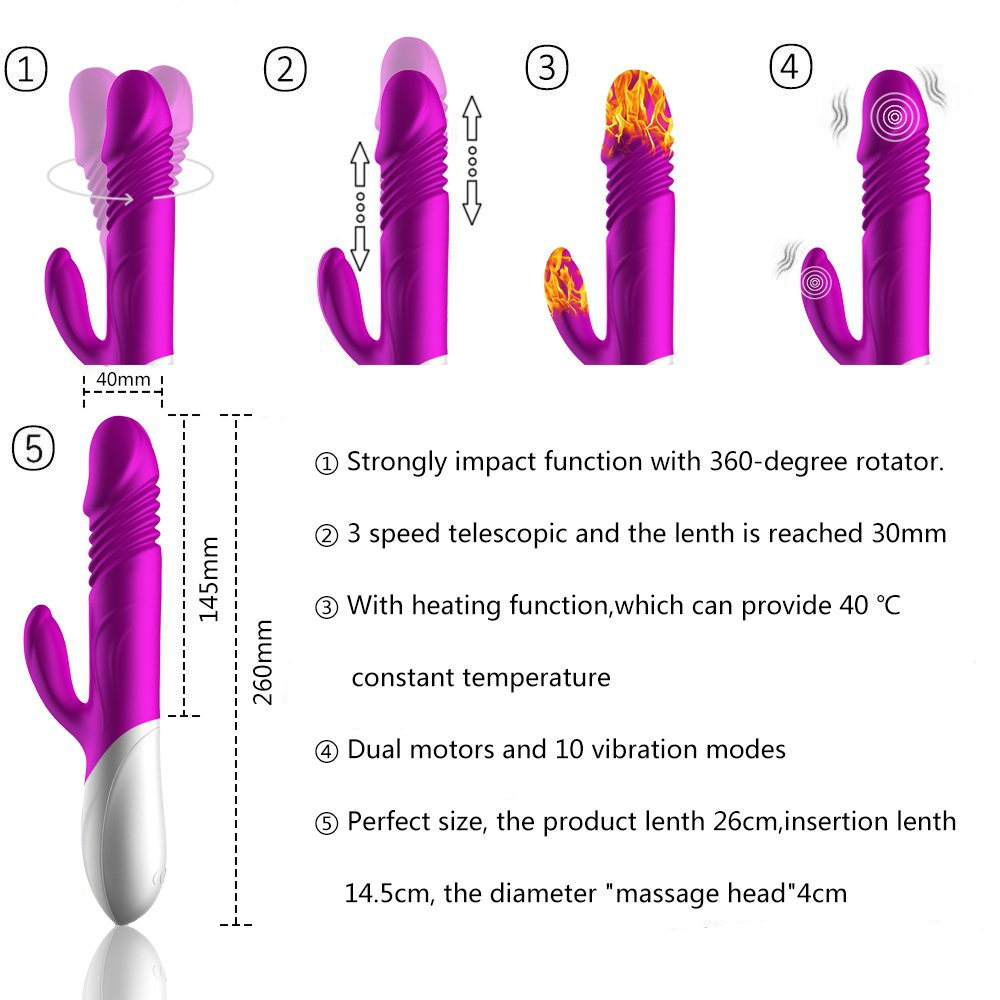 Heating Rabbit Vibrator with 10 Frequency and 3 Strong Telescopic Vibrating G-spot Rabbit Vibrator/Vagina Vibrator/Clit Stimulator Wand for Women (Purple)