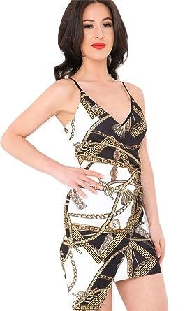 Momo&Ayat Fashions Ladies Cocktail Rope Chain Print Asymmetrical Wrap Dress UK Size 6-14 (