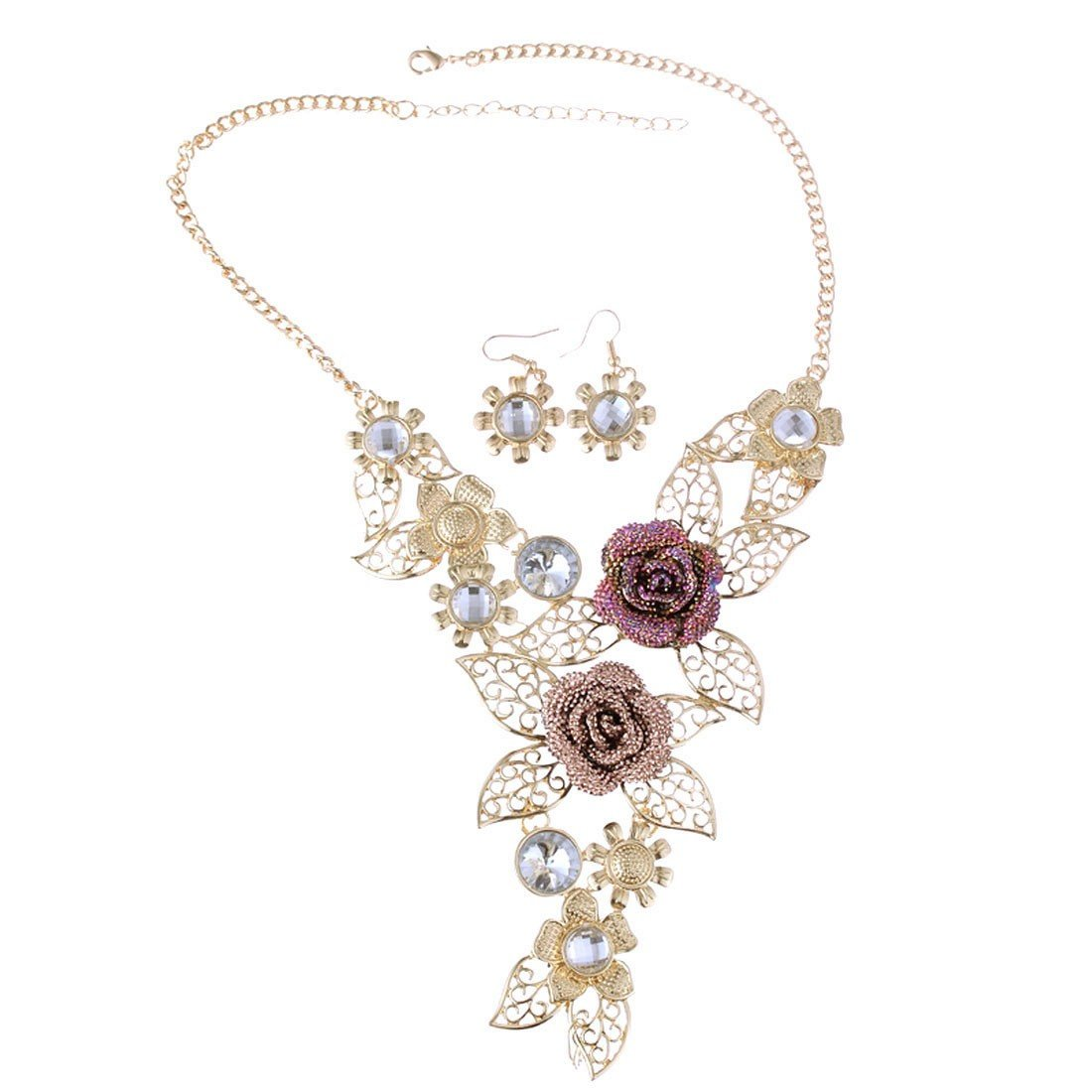 Qiyun Handmade 3D Bling Crystal Rose Flower Leaf Statement Collar Necklace Earring Set Cristal 3D Fleur Rose Feuilles Collier W005N0508