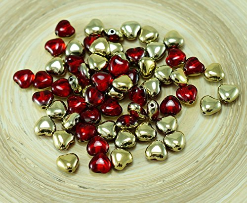 40pcs Crystal Ruby Red Gold Half Small Heart Shaped Czech Glass Beads 6mm x 6mm Small Red Hearts