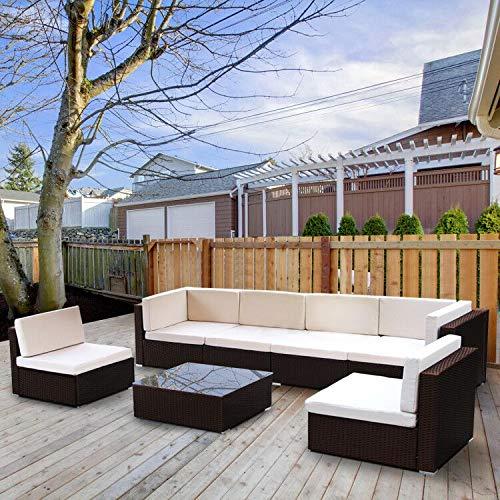 Esright 7-14 Pieces Patio PE Rattan Wicker Sofa Sectional Furniture (7-Pcs Set, Brown) ()