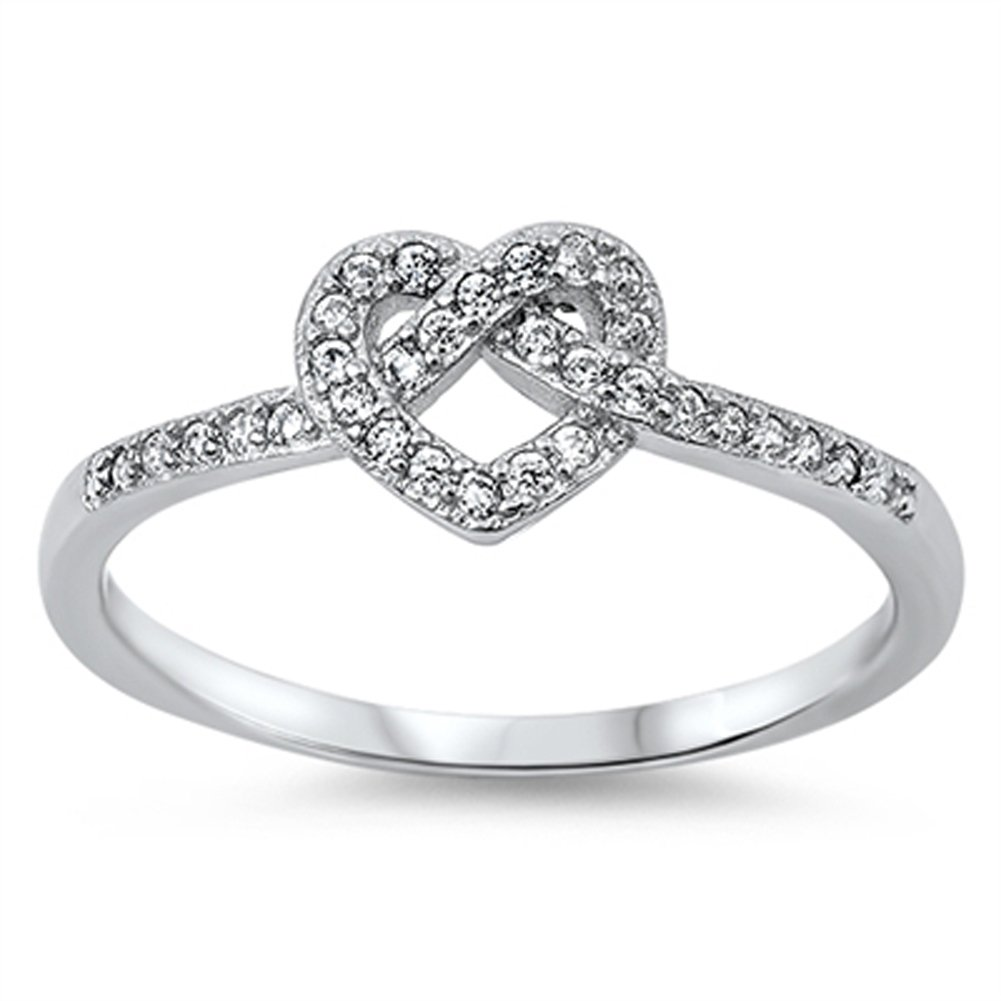 Infinity Knot Heart Love Clear CZ Promise Ring .925 Sterling Silver Sizes 4-12 Sac Silver