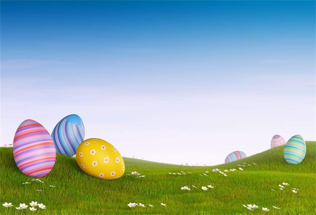 10x6.5ft Easter Backdrop Painted Eggs Photography Background Spring Flowers Green Meadow Kids Easter Photobooth Easter Home Photography School Events Video Church Activity Props