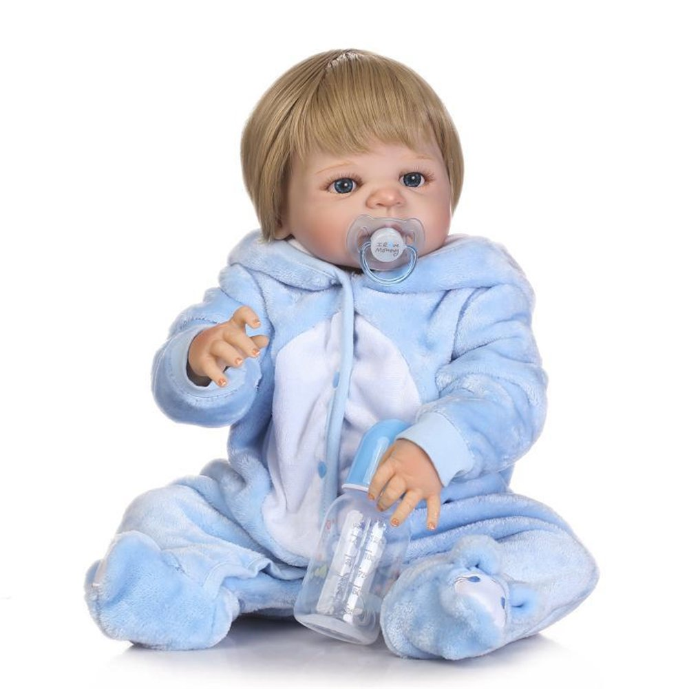 Lifelike Simulated Full Silicone Coverage Washable Reborn Doll for Babies Ksruee