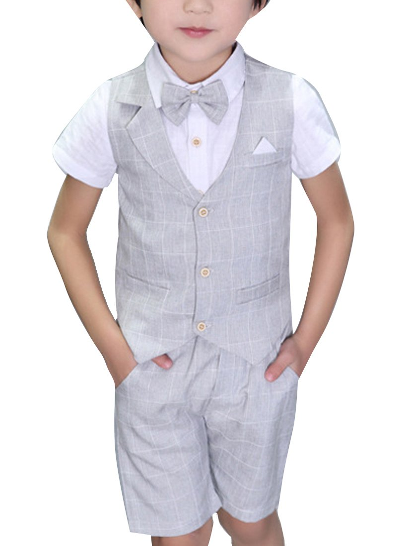 YUFAN Boys Plaid Summer Suits Vest Set 3 Pieces Shirt Vest and Pants Set 3 Colors (2T, Gray)