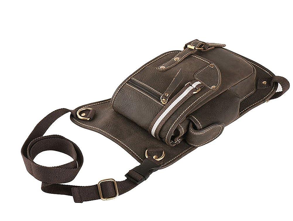 Genda 2Archer Mens Leather Messenger Waist Hip Bum Pack Drop Leg Bag Fanny Pack Brown