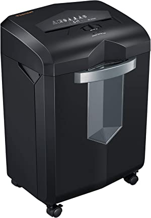 Bonsaii Paper Shredder, 18-Sheet Heavy Duty Cross-Cut CD Credit Card Shredder for Office with 6 Gallon Pull-Out Basket and 4 Casters, 60 Minutes Running Time, Black