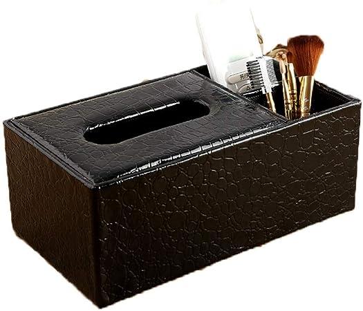 ENXING Caja de pañuelos Estuche Rectangular de pañuelos multifunción con Control Remoto servilletero Papel Tapiz Europeo y Soporte de toallitas de Papel MDF (patrón de cocodrilo) 24x13x9.5cm Negro: Amazon.es: Hogar