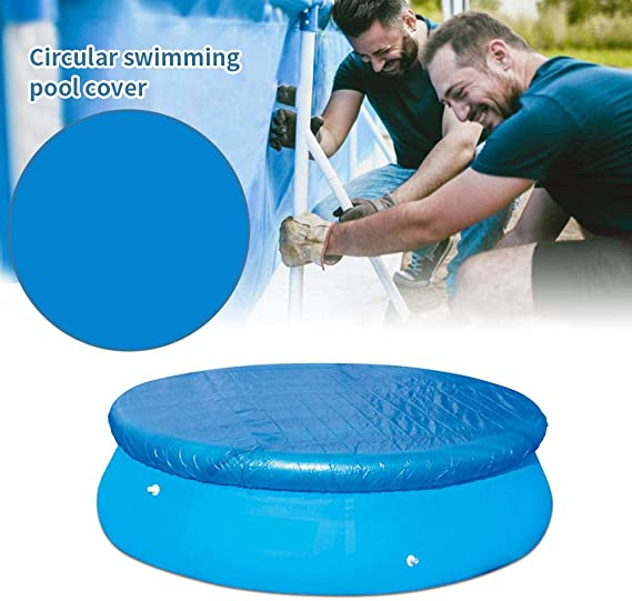 Maaun 8ft//10ft in Diameter Swimming Pool Cover Round Durable Pool Ground Cloth Hot Tub Cover Swimming Blue Solar Cover Foldable Rainproof Pool Dust Cover for Round Paddling Pool Inflatable Pool